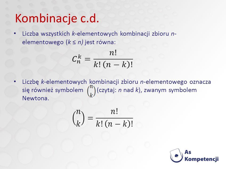 Liczba wszystkich k-elementowych kombinacji zbioru n- elementowego (k n) jest równa: Liczbę k-elementowych kombinacji zbioru n-elementowego oznacza się również symbolem (czytaj: n nad k), zwanym symbolem Newtona.