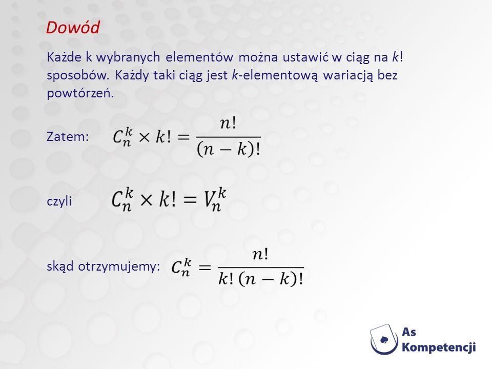 Każde k wybranych elementów można ustawić w ciąg na k.