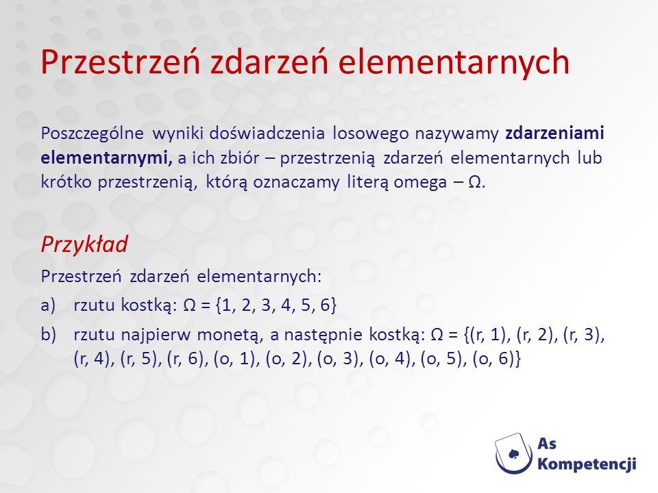 Przestrzeń zdarzeń elementarnych Poszczególne wyniki doświadczenia losowego nazywamy zdarzeniami elementarnymi, a ich zbiór – przestrzenią zdarzeń elementarnych lub krótko przestrzenią, którą oznaczamy literą omega – Ω.