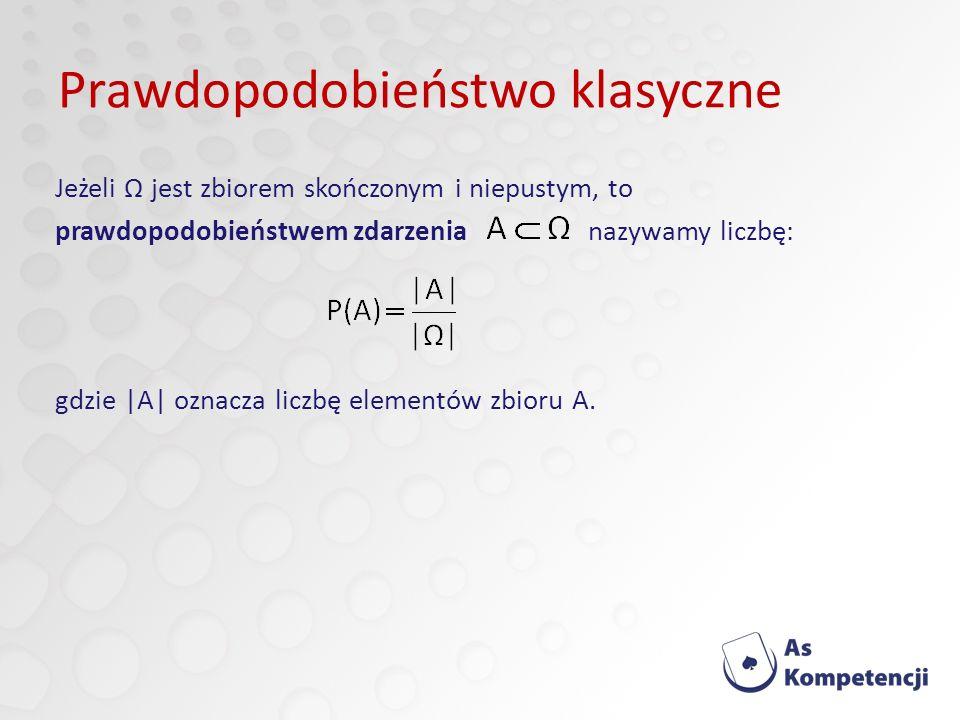 Prawdopodobieństwo klasyczne Jeżeli Ω jest zbiorem skończonym i niepustym, to prawdopodobieństwem zdarzenia nazywamy liczbę: gdzie |A| oznacza liczbę elementów zbioru A.