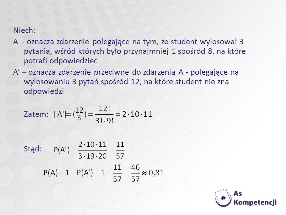 Niech: A - oznacza zdarzenie polegające na tym, że student wylosował 3 pytania, wśród których było przynajmniej 1 spośród 8, na które potrafi odpowiedzieć A – oznacza zdarzenie przeciwne do zdarzenia A - polegające na wylosowaniu 3 pytań spośród 12, na które student nie zna odpowiedzi Zatem: Stąd:
