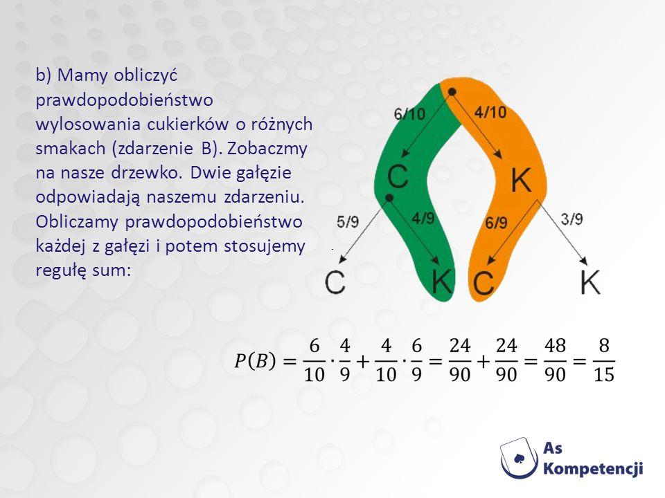 b) Mamy obliczyć prawdopodobieństwo wylosowania cukierków o różnych smakach (zdarzenie B).