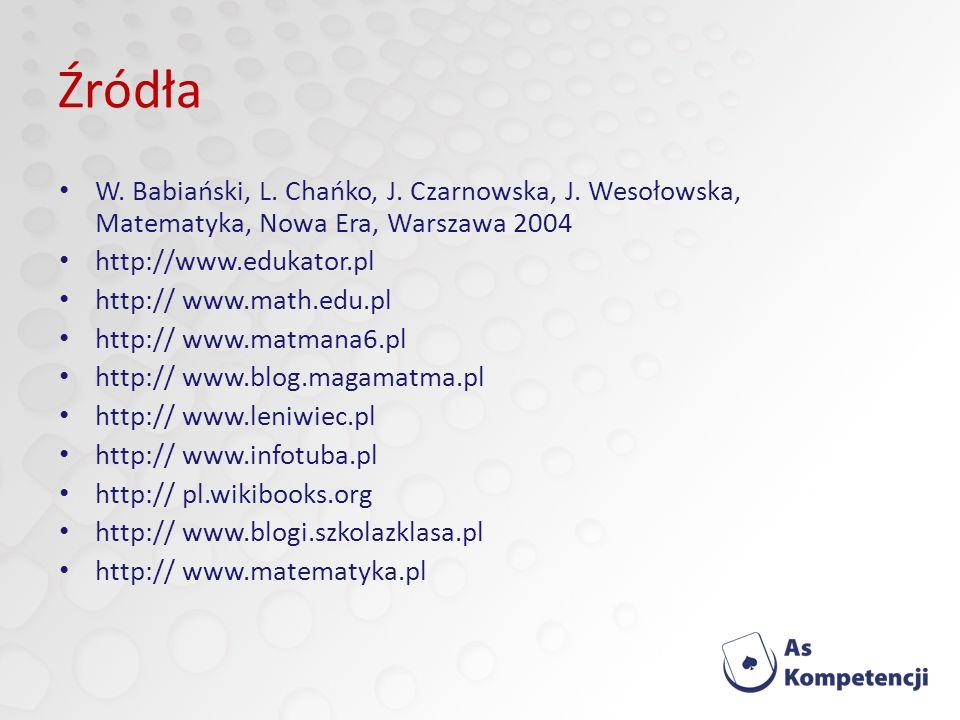 Źródła W.Babiański, L. Chańko, J. Czarnowska, J.