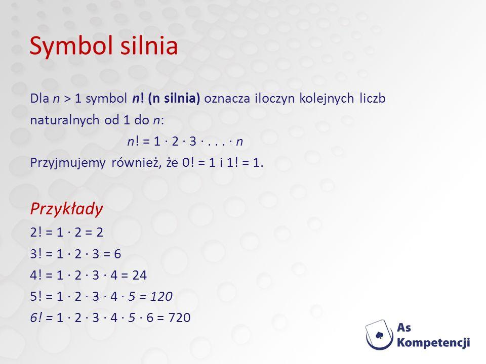 Symbol silnia Dla n > 1 symbol n.