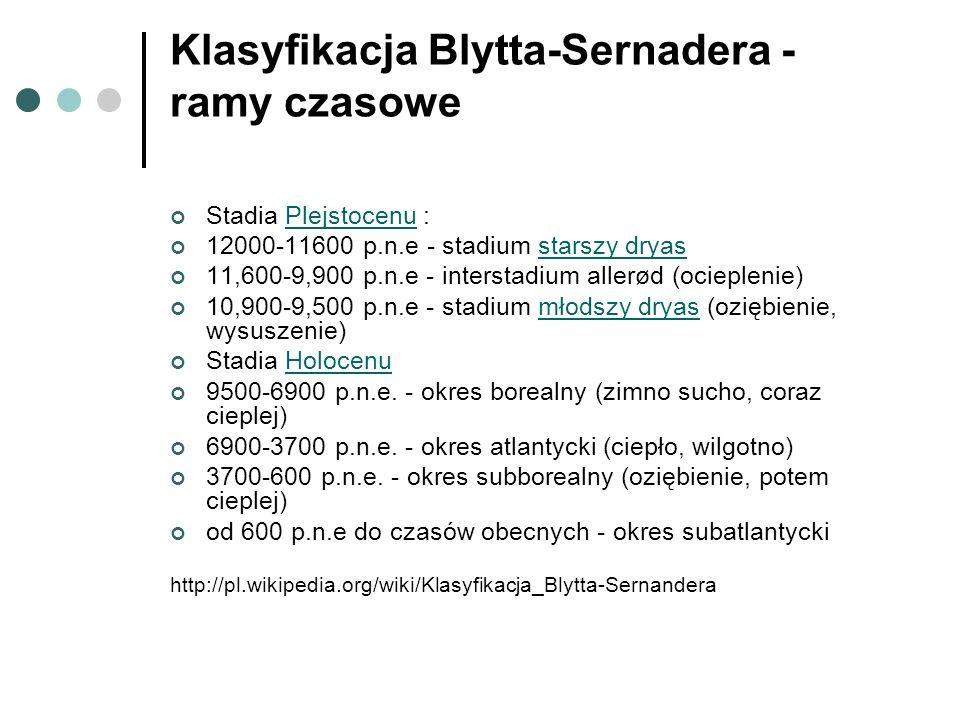 Klasyfikacja Blytta-Sernadera - ramy czasowe Stadia Plejstocenu :Plejstocenu 12000-11600 p.n.e - stadium starszy dryasstarszy dryas 11,600-9,900 p.n.e