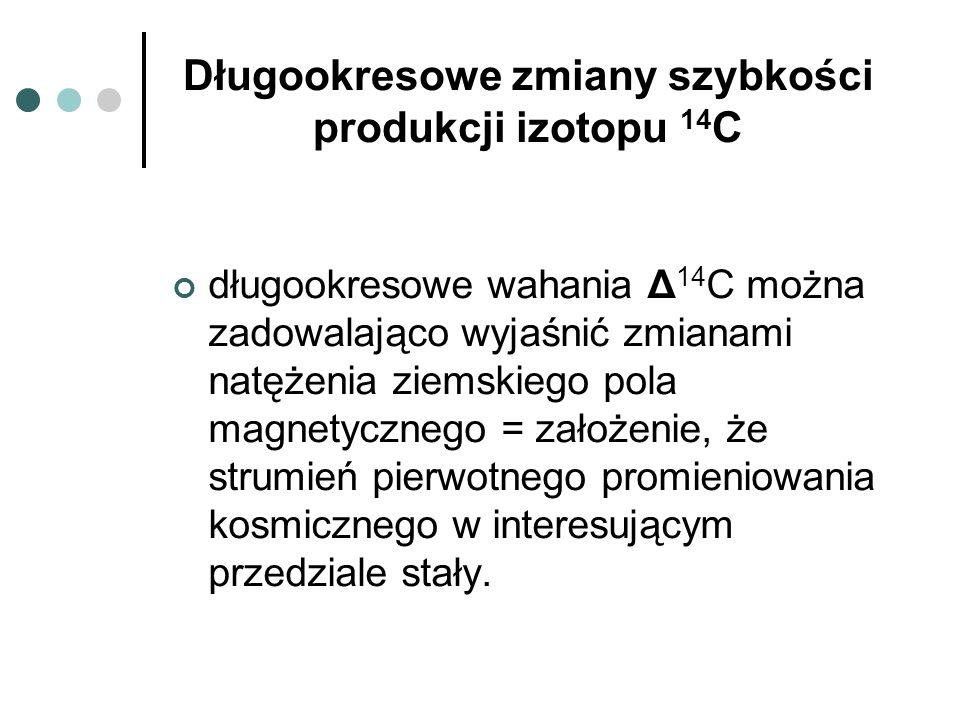 Długookresowe zmiany szybkości produkcji izotopu 14 C długookresowe wahania Δ 14 C można zadowalająco wyjaśnić zmianami natężenia ziemskiego pola magn