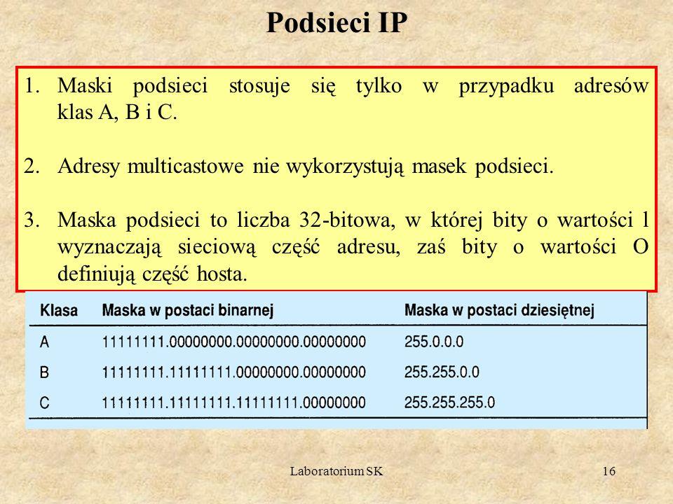 Laboratorium SK16 Podsieci IP 1.Maski podsieci stosuje się tylko w przypadku adresów klas A, B i C. 2.Adresy multicastowe nie wykorzystują masek podsi