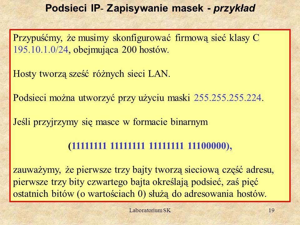 Laboratorium SK19 Podsieci IP - Zapisywanie masek - przykład Przypuśćmy, że musimy skonfigurować firmową sieć klasy C 195.10.1.0/24, obejmująca 200 ho