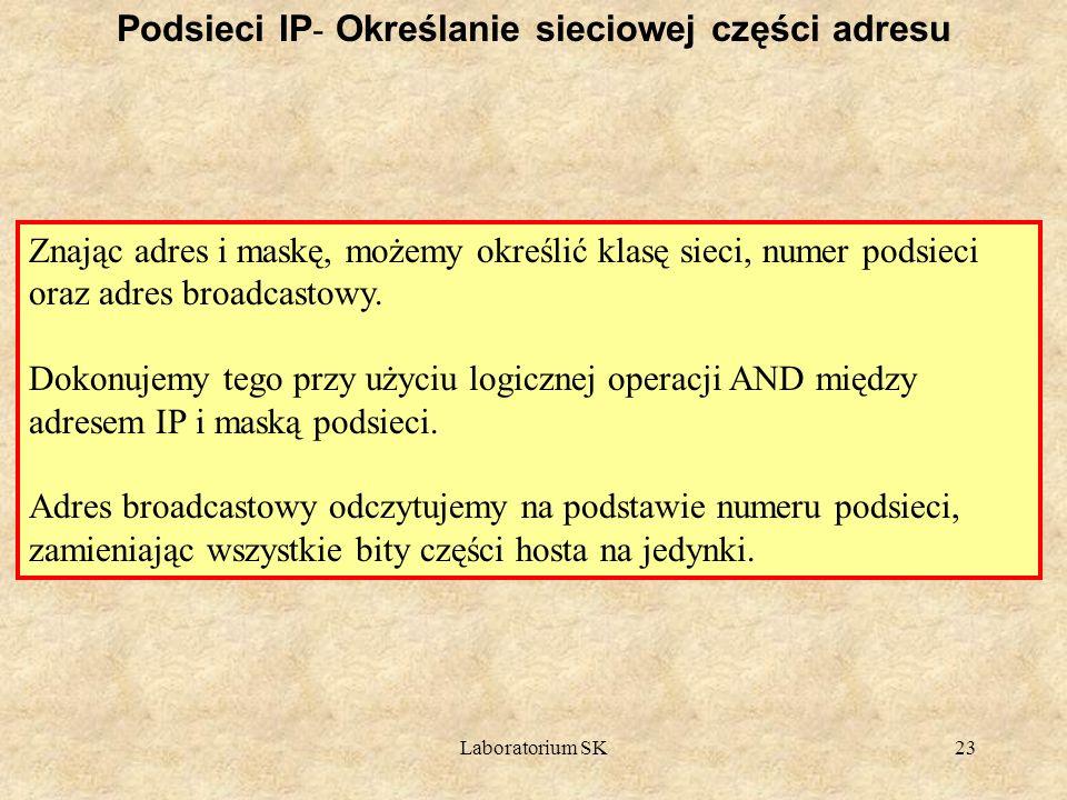 Laboratorium SK23 Podsieci IP - Określanie sieciowej części adresu Znając adres i maskę, możemy określić klasę sieci, numer podsieci oraz adres broadc