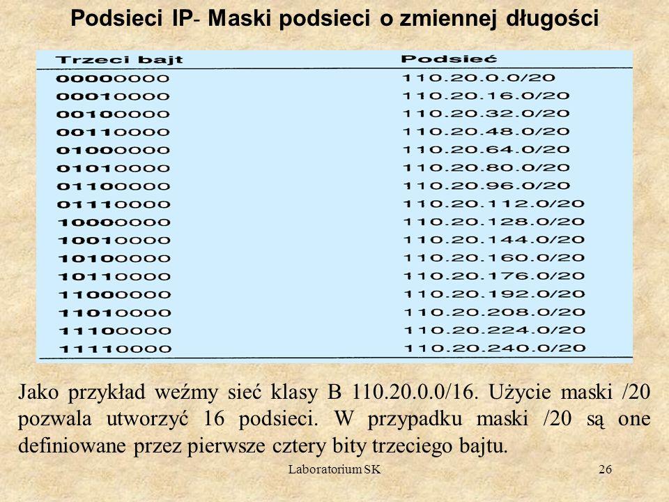 Laboratorium SK26 Podsieci IP - Maski podsieci o zmiennej długości Jako przykład weźmy sieć klasy B 110.20.0.0/16. Użycie maski /20 pozwala utworzyć 1