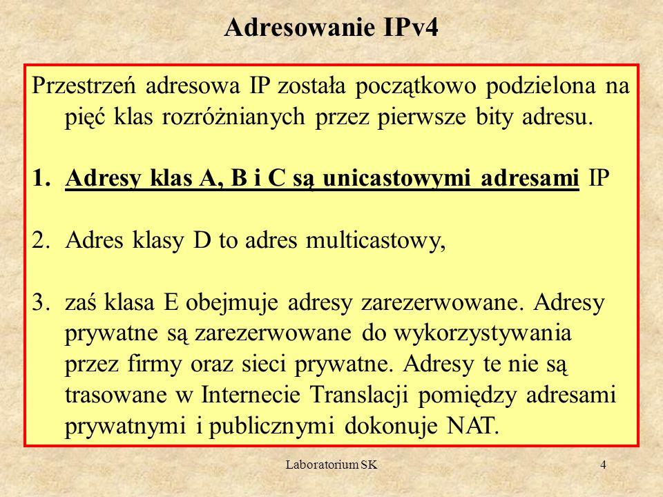 Laboratorium SK4 Przestrzeń adresowa IP została początkowo podzielona na pięć klas rozróżnianych przez pierwsze bity adresu. 1.Adresy klas A, B i C są
