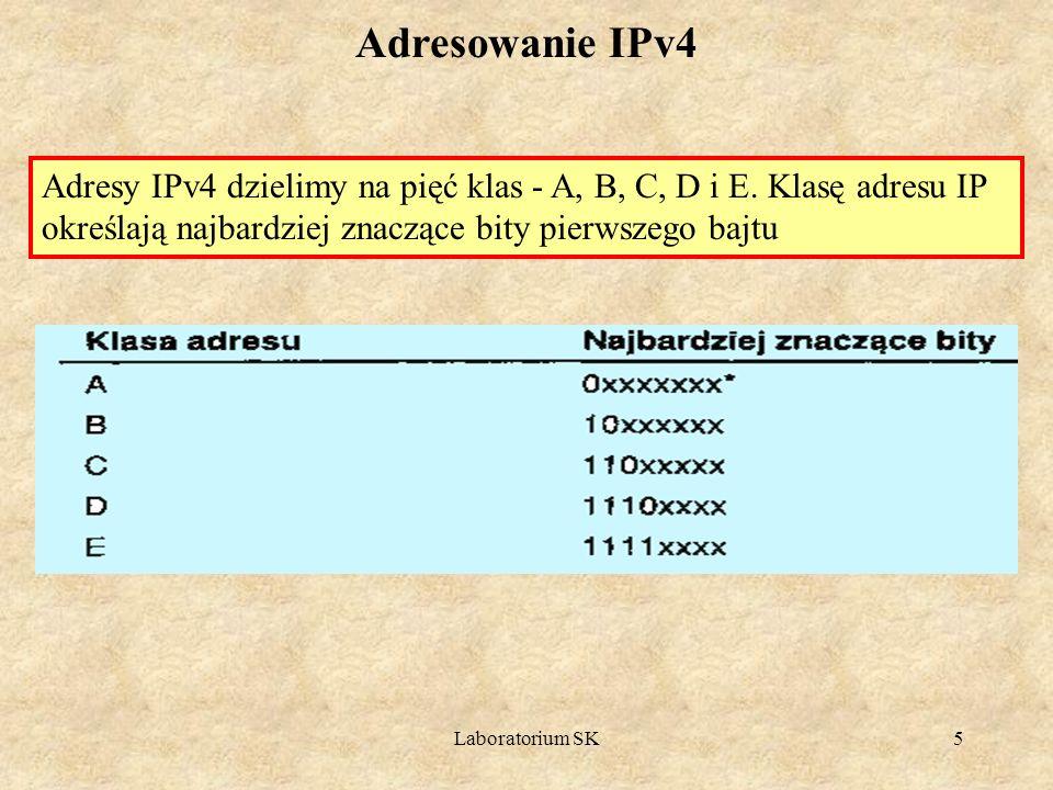 Laboratorium SK5 Adresowanie IPv4 Adresy IPv4 dzielimy na pięć klas - A, B, C, D i E. Klasę adresu IP określają najbardziej znaczące bity pierwszego b