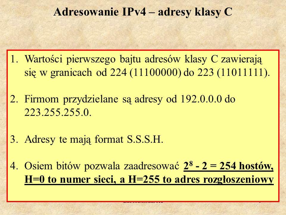 Laboratorium SK9 Adresowanie IPv4 – adresy klasy C 1.Wartości pierwszego bajtu adresów klasy C zawierają się w granicach od 224 (11100000) do 223 (110