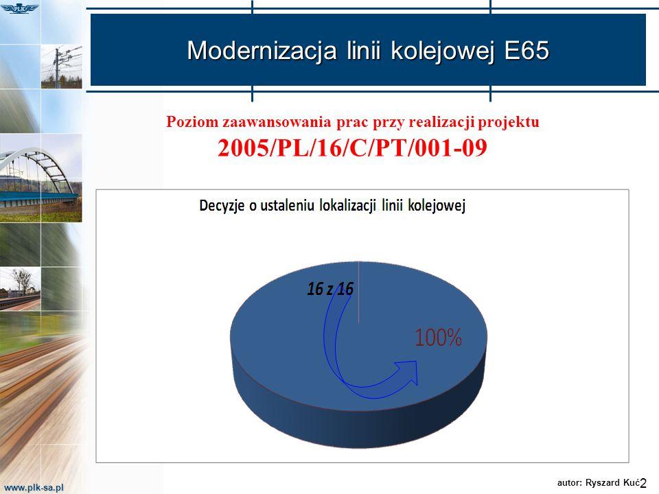 www.plk-sa.pl Modernizacja linii kolejowej E65 Poziom zaawansowania prac przy realizacji projektu 2005/PL/16/C/PT/001-09 2 autor: Ryszard Kuć