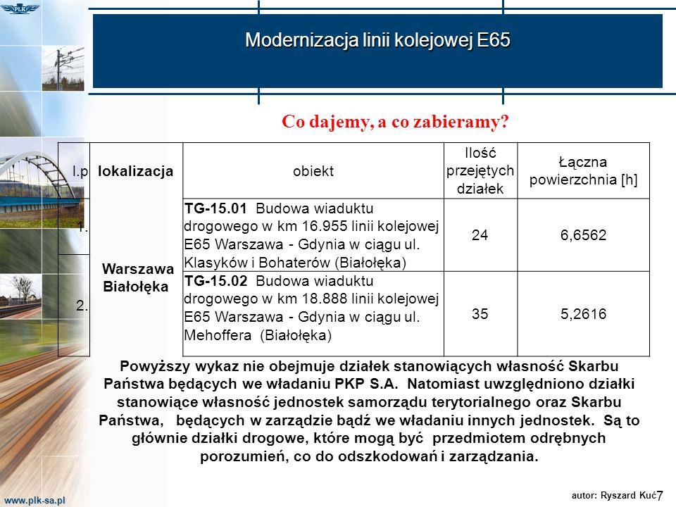 www.plk-sa.pl Modernizacja linii kolejowej E65 7 autor: Ryszard Kuć l.plokalizacjaobiekt Ilość przejętych działek Łączna powierzchnia [h] 1. Warszawa