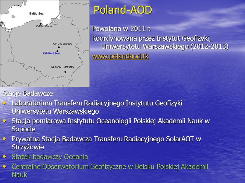 Poland-AOD Powołana w 2011 r. Koordynowana przez Instytut Geofizyki, Uniwersytetu Warszawskiego (2012-2013) www.polandaod.tk Stacje Badawcze: Laborato