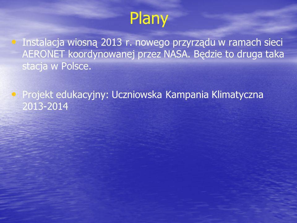 Plany Instalacja wiosną 2013 r. nowego przyrządu w ramach sieci AERONET koordynowanej przez NASA. Będzie to druga taka stacja w Polsce. Projekt edukac