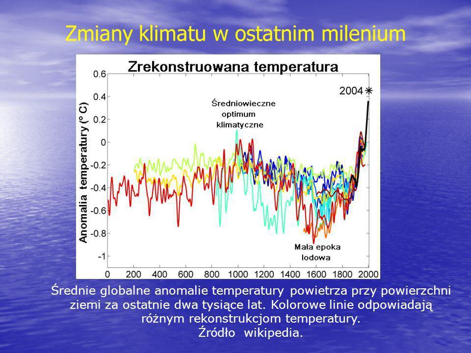 Zmiany temperatury w ostatnich 150 latach Średnie roczne i pięcioletnie anomalie temperatury powietrza przy powierzchni ziemi wyznaczone względem referencyjnego okresu 1961-1990.