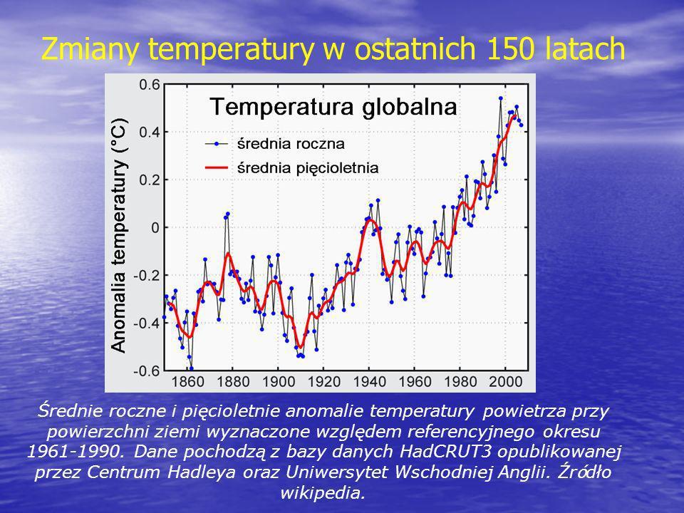 Zmiany temperatury w ostatnich 150 latach Średnie roczne i pięcioletnie anomalie temperatury powietrza przy powierzchni ziemi wyznaczone względem refe