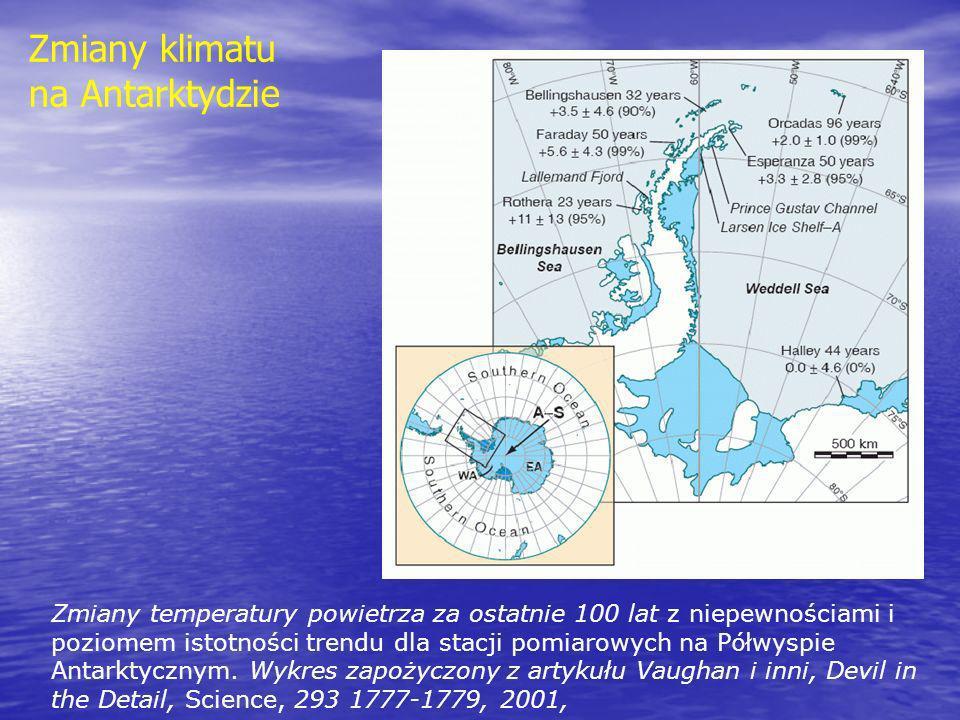 Zmiany temperatury powietrza za ostatnie 100 lat z niepewnościami i poziomem istotności trendu dla stacji pomiarowych na P ó łwyspie Antarktycznym. Wy