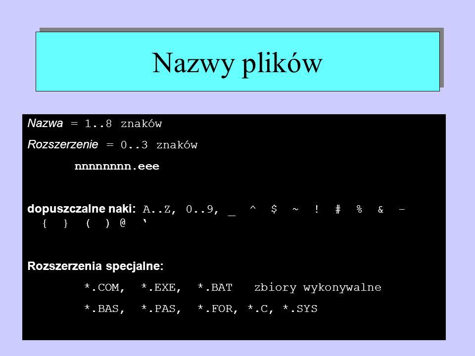 Nazwy plików Nazwa = 1..8 znaków Rozszerzenie = 0..3 znaków nnnnnnnn.eee dopuszczalne naki: A..Z, 0..9, _ ^ $ ~ ! # % & - { } ( ) @ Rozszerzenia specj