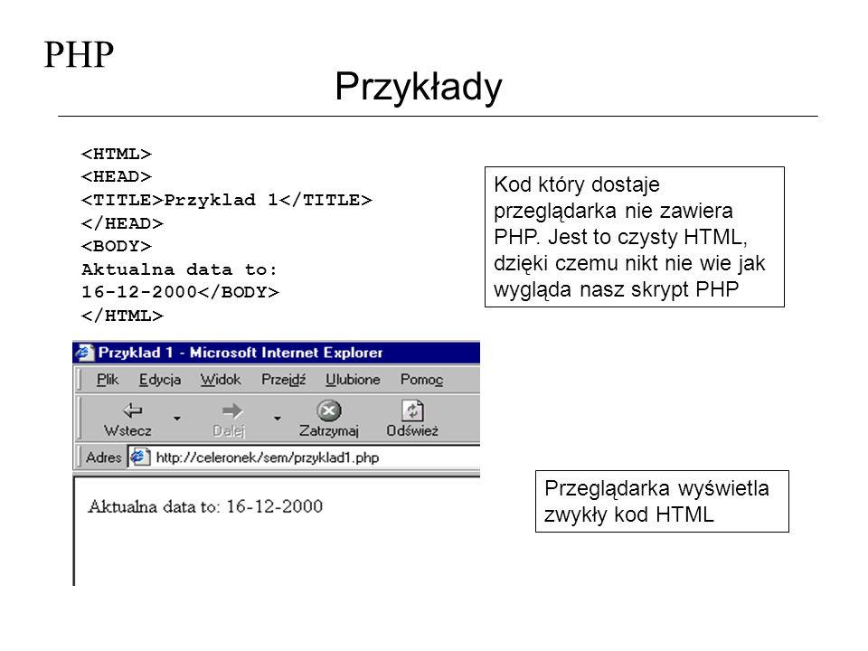 PHP Przykłady Przyklad 1 Aktualna data to: 16-12-2000 Kod który dostaje przeglądarka nie zawiera PHP. Jest to czysty HTML, dzięki czemu nikt nie wie j