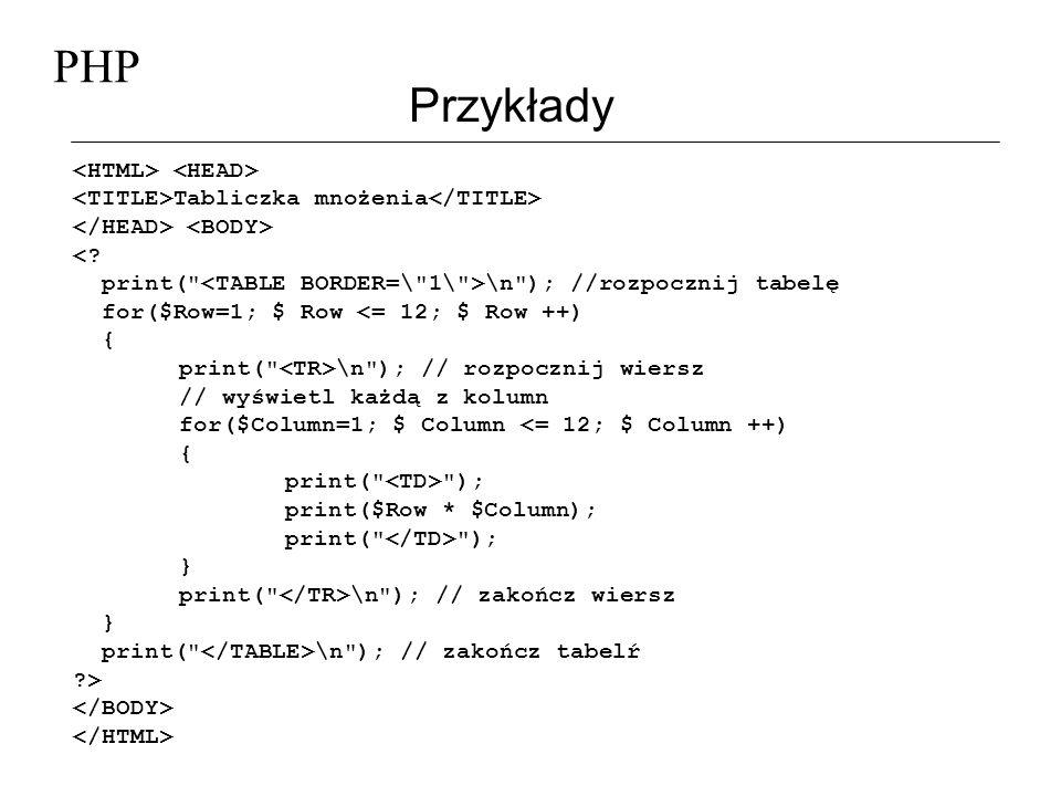 PHP Przykłady Tabliczka mnożenia <? print(