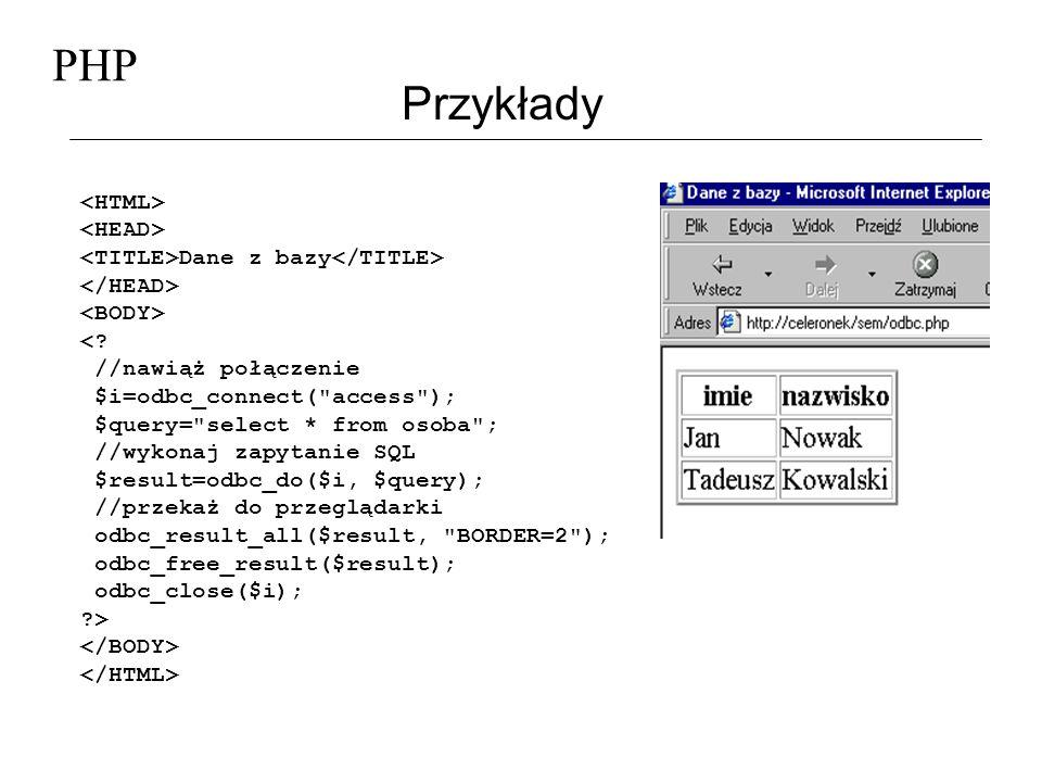 PHP Przykłady Pobierz dane Twoje imię: Twoje nazwisko: