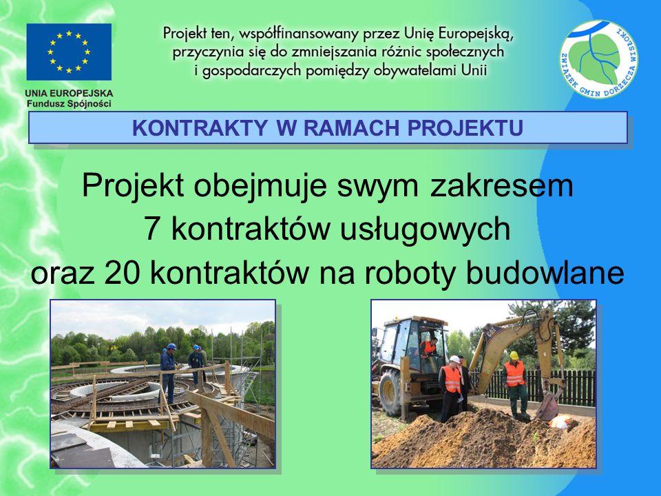 KONTRAKTY W RAMACH PROJEKTU Projekt obejmuje swym zakresem 7 kontraktów usługowych oraz 20 kontraktów na roboty budowlane
