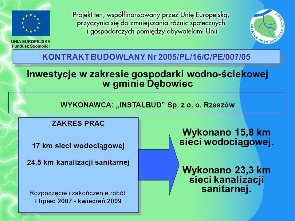 KONTRAKT BUDOWLANY Nr 2005/PL/16/C/PE/007/05 Inwestycje w zakresie gospodarki wodno-ściekowej w gminie Dębowiec ZAKRES PRAC 17 km sieci wodociągowej 2
