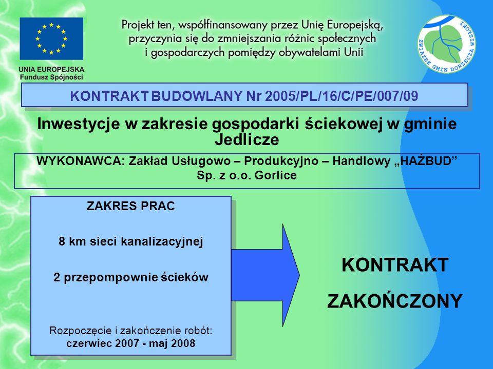 KONTRAKT BUDOWLANY Nr 2005/PL/16/C/PE/007/09 Inwestycje w zakresie gospodarki ściekowej w gminie Jedlicze ZAKRES PRAC 8 km sieci kanalizacyjnej 2 prze