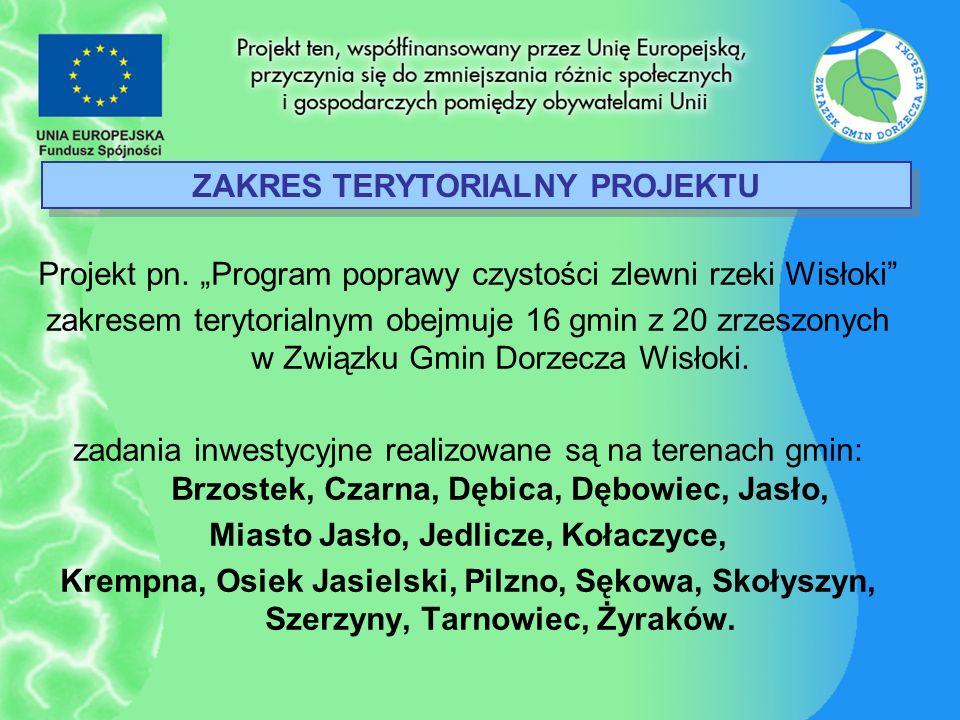 ZAKRES TERYTORIALNY PROJEKTU Projekt pn. Program poprawy czystości zlewni rzeki Wisłoki zakresem terytorialnym obejmuje 16 gmin z 20 zrzeszonych w Zwi