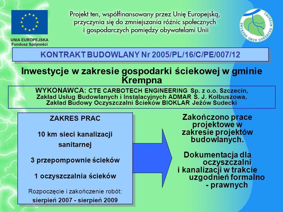 KONTRAKT BUDOWLANY Nr 2005/PL/16/C/PE/007/12 Inwestycje w zakresie gospodarki ściekowej w gminie Krempna ZAKRES PRAC 10 km sieci kanalizacji sanitarne