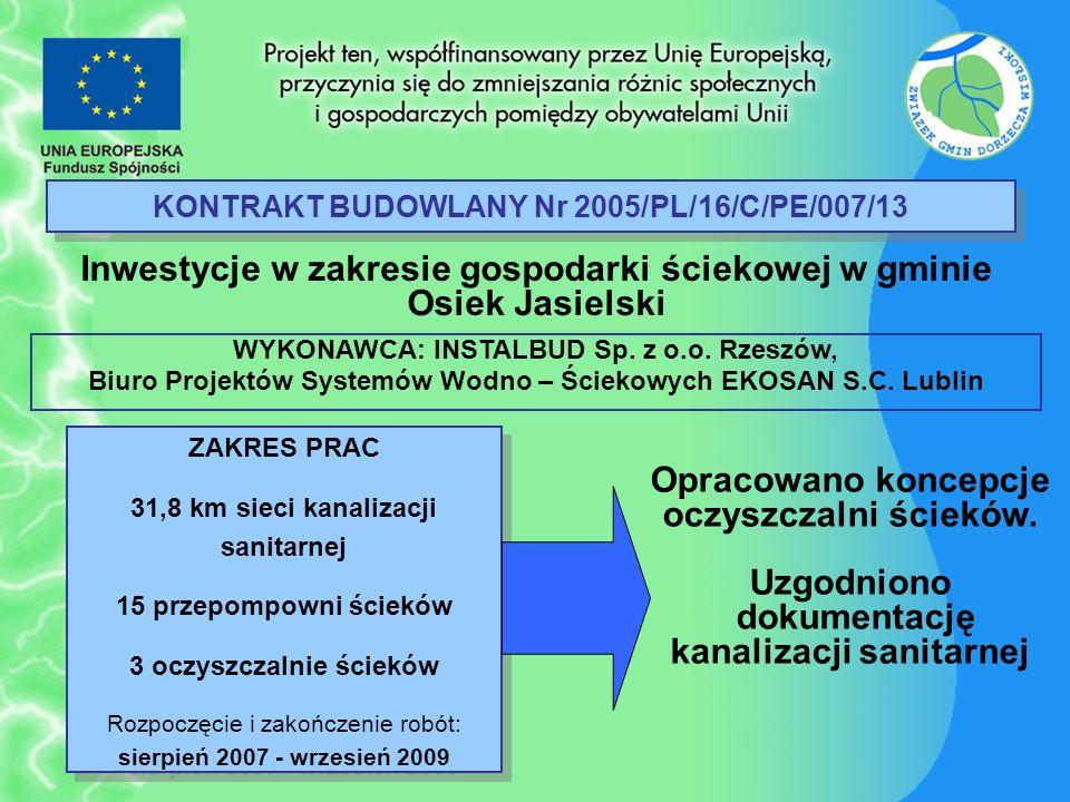 KONTRAKT BUDOWLANY Nr 2005/PL/16/C/PE/007/13 Inwestycje w zakresie gospodarki ściekowej w gminie Osiek Jasielski ZAKRES PRAC 31,8 km sieci kanalizacji