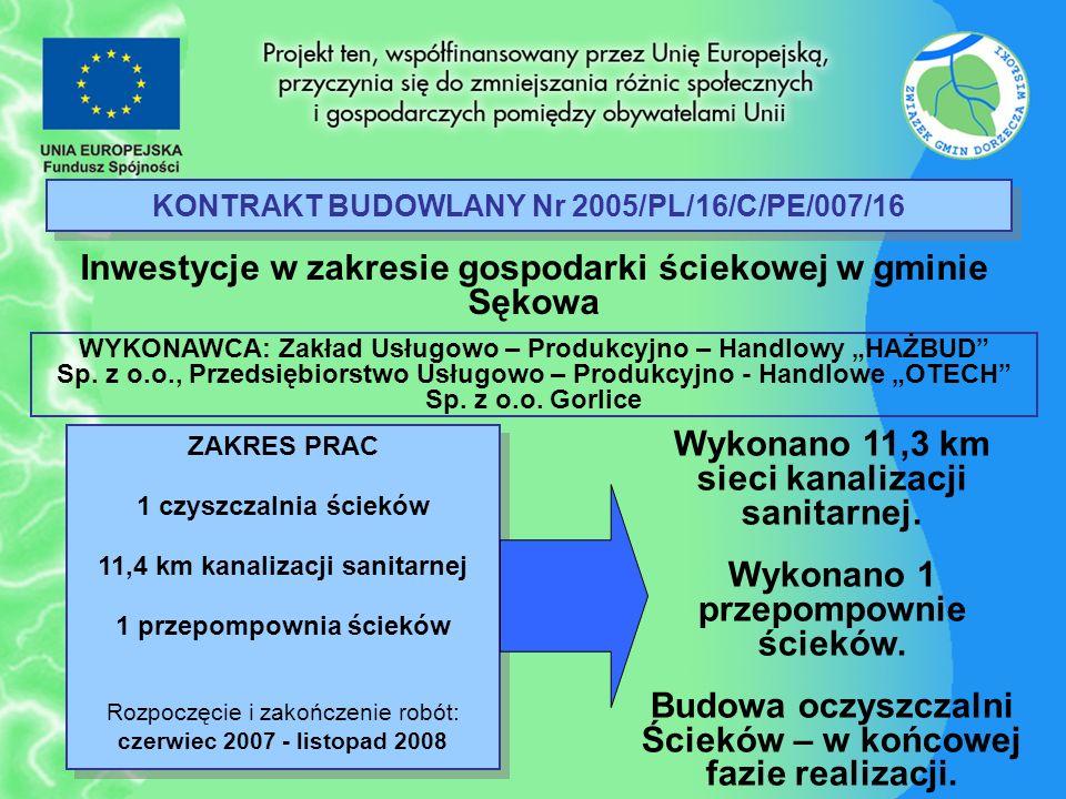 KONTRAKT BUDOWLANY Nr 2005/PL/16/C/PE/007/16 Inwestycje w zakresie gospodarki ściekowej w gminie Sękowa ZAKRES PRAC 1 czyszczalnia ścieków 11,4 km kan