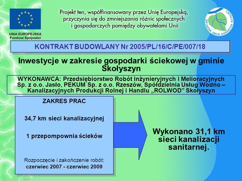 KONTRAKT BUDOWLANY Nr 2005/PL/16/C/PE/007/18 Inwestycje w zakresie gospodarki ściekowej w gminie Skołyszyn ZAKRES PRAC 34,7 km sieci kanalizacyjnej 1