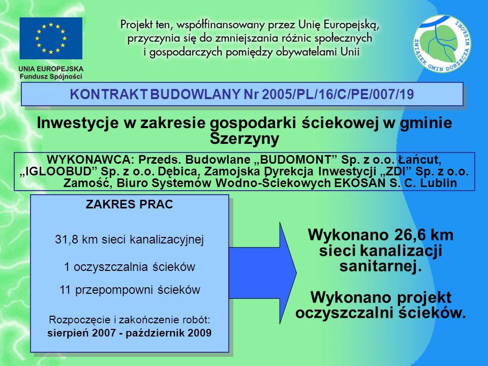 KONTRAKT BUDOWLANY Nr 2005/PL/16/C/PE/007/19 Inwestycje w zakresie gospodarki ściekowej w gminie Szerzyny ZAKRES PRAC 31,8 km sieci kanalizacyjnej 1 o