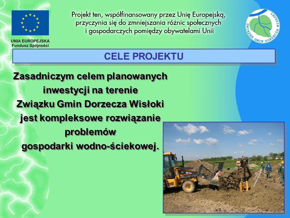 CELE PROJEKTU Zasadniczym celem planowanych inwestycji na terenie Związku Gmin Dorzecza Wisłoki jest kompleksowe rozwiązanie problemów gospodarki wodn