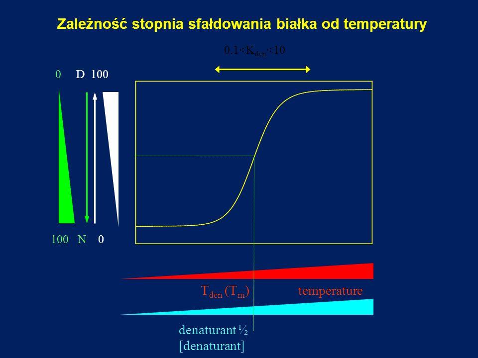 0.1<K den <10 100 N 0 0 D 100 T den (T m ) temperature denaturant ½ [denaturant] Zależność stopnia sfałdowania białka od temperatury