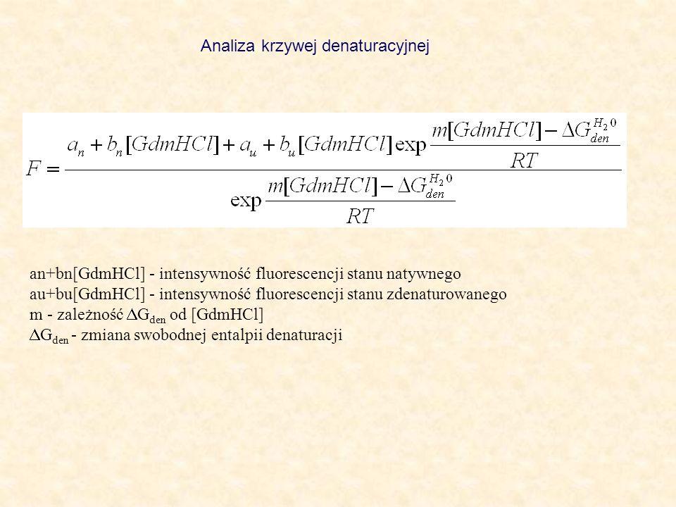 an+bn[GdmHCl] - intensywność fluorescencji stanu natywnego au+bu[GdmHCl] - intensywność fluorescencji stanu zdenaturowanego m - zależność G den od [Gd