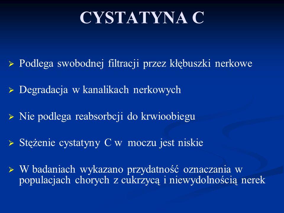 WNIOSKI Stężenie cystatyny C może być wskaźnikiem ryzyka u pacjentów z NT W odróżnieniu od innych doniesień, cystatyna C u leczonych pacjentów z NT zwiększa się z wiekiem