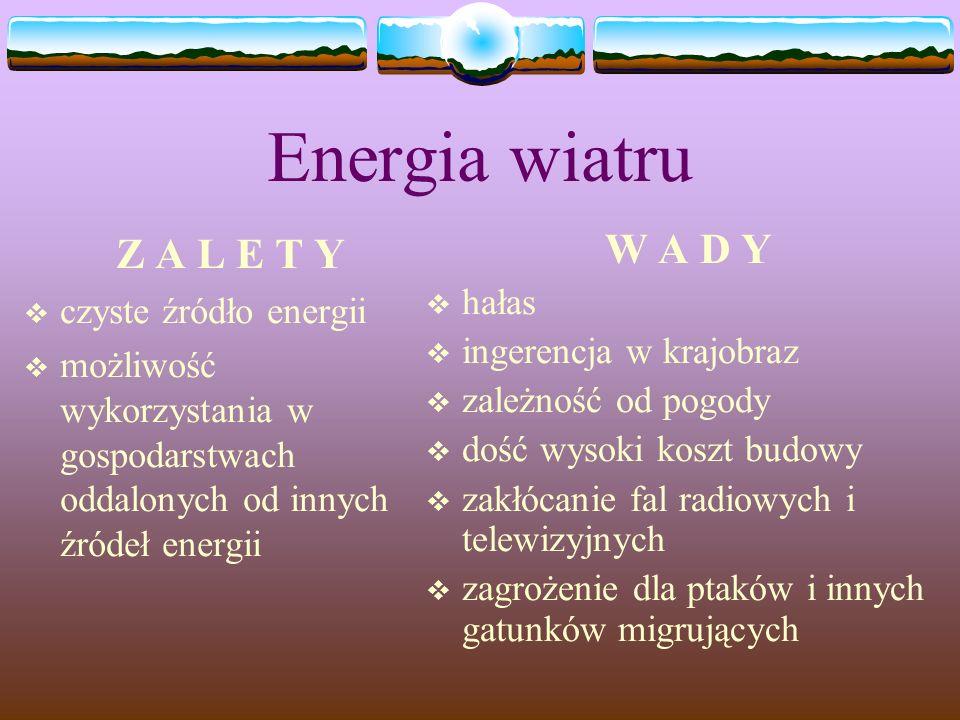 Energia wiatru Z A L E T Y czyste źródło energii możliwość wykorzystania w gospodarstwach oddalonych od innych źródeł energii W A D Y hałas ingerencja