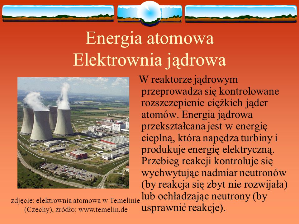 Energia atomowa Elektrownia jądrowa W reaktorze jądrowym przeprowadza się kontrolowane rozszczepienie ciężkich jąder atomów. Energia jądrowa przekszta