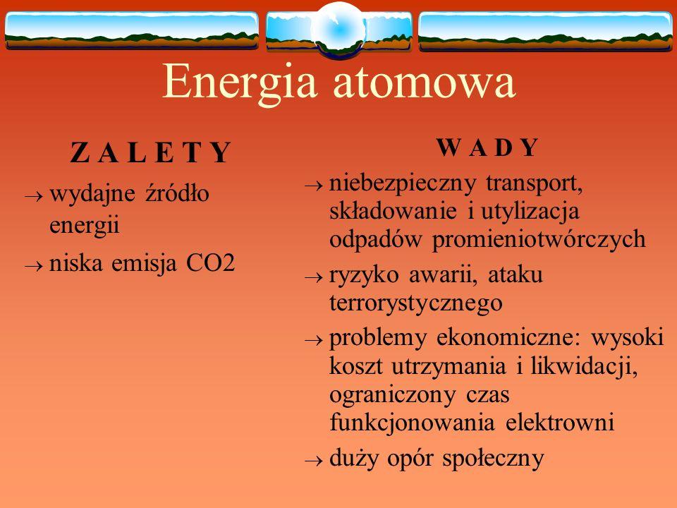 Energia atomowa Z A L E T Y wydajne źródło energii niska emisja CO2 W A D Y niebezpieczny transport, składowanie i utylizacja odpadów promieniotwórczy