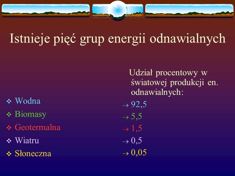 Istnieje pięć grup energii odnawialnych Wodna Biomasy Geotermalna Wiatru Słoneczna Udział procentowy w światowej produkcji en. odnawialnych: 92,5 5,5