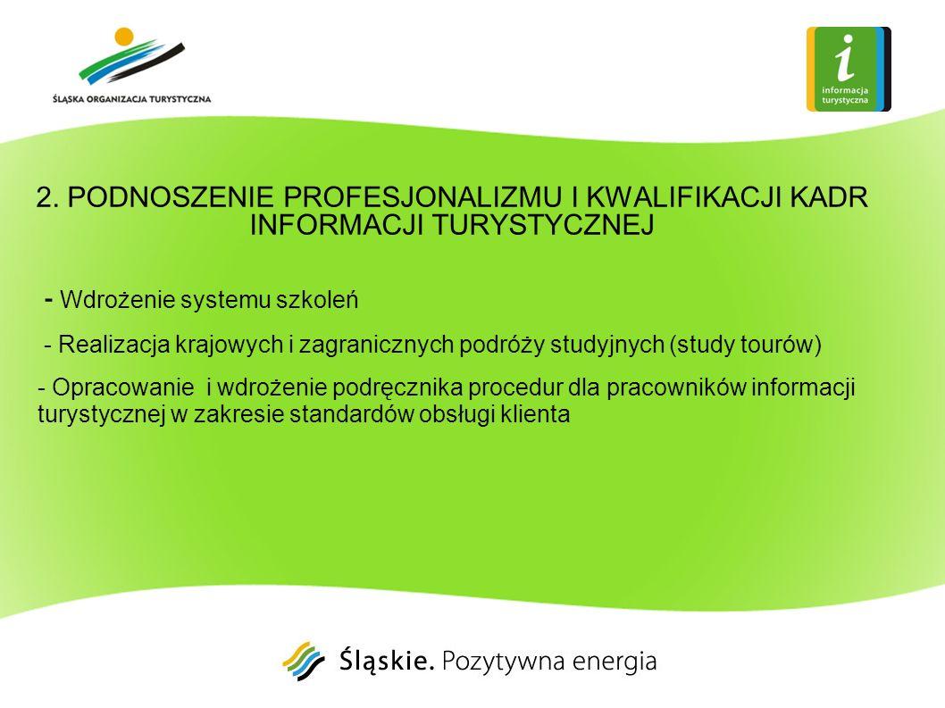 2. PODNOSZENIE PROFESJONALIZMU I KWALIFIKACJI KADR INFORMACJI TURYSTYCZNEJ - Wdrożenie systemu szkoleń - Realizacja krajowych i zagranicznych podróży