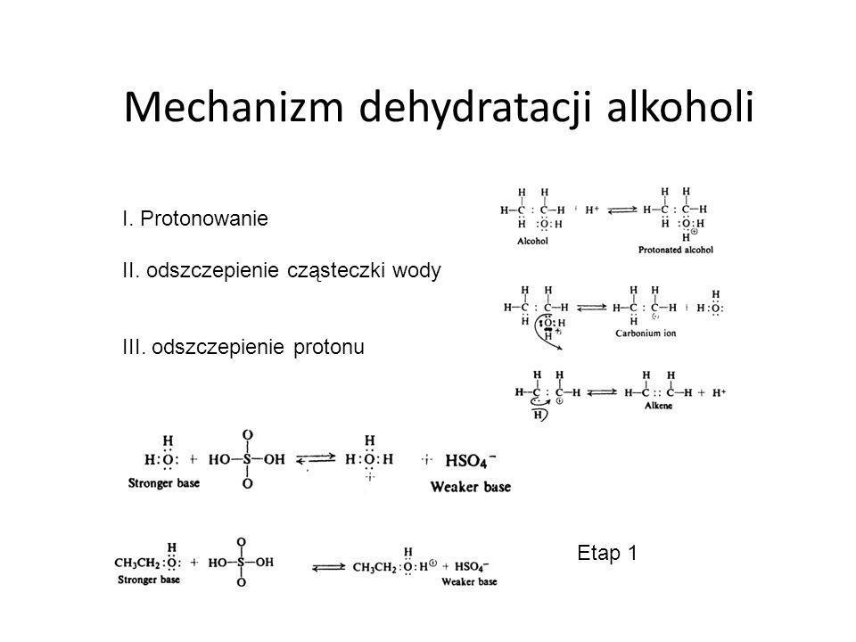 Reakcje alkenów Najbardziej reaktywne jest wiązanie podwójne, lub jego sąsiedztwo (węgiel α) Reakcje addycji (przyłączenia) – nie ma produktów ubocznych Ponieważ cząsteczka jest otoczona chmurą elektronów π, więc ma ładunek ujemny i spełnia rolę zasady a reagent jest kwasowy (poszukujący elektronów).
