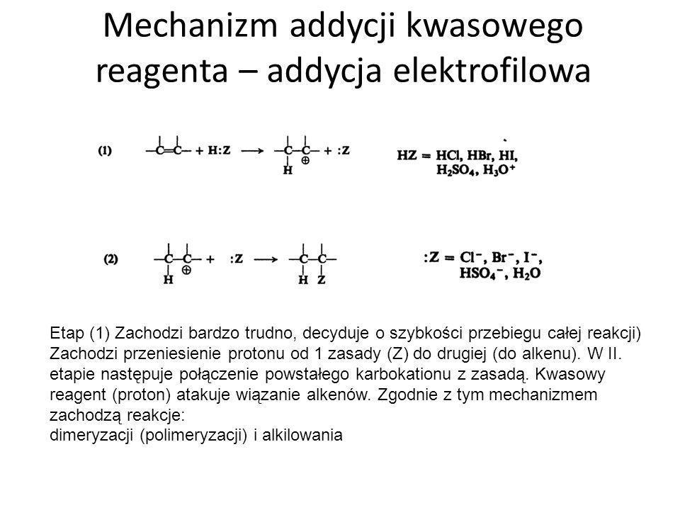 Dimeryzacja, alkilowanie dimeryzacja alkilowanie + Kierunek przyłączenia halogenów określa reguła Markownikowa.