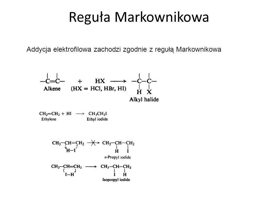 Porównanie karbokationów powstałych na skutek zaatakowania pozycji para i meta w nitrobenzenie (posiadającym grupę dezaktywującą) Struktura XI jest najbardziej nietrwała.