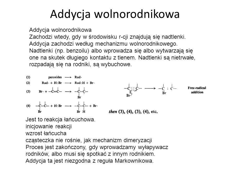 4.Addycja wody (hydratacja) Atom C związany wiązaniem potrójnym wykazuje znaczną kwasowość tj.